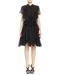 Alexander Mcqueen Angled Multi Layered Ruffle Dress Black