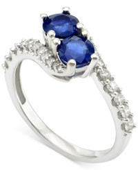 Macy's Sapphire 1 Ct. T.W. And Diamond 3 8 Ct. T.W. Twist Ring In 14K White Gold Blue
