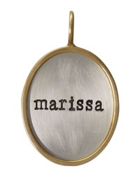 Oval Silver And 14K Gold Single Lowercase Name Charm Heather Moore Silver Gold