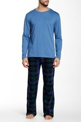 Majestic Crew Tee And Fleece Pant Two Piece Set Blue