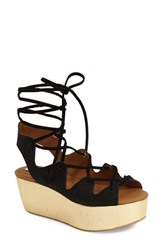 Women's See By Chloe 'Liana' Platform Wedge Sandal Black Suede