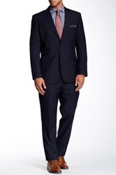 English Laundry Navy Sharkskin Two Button Notch Lapel Suit Blue