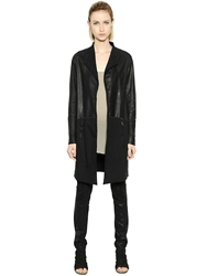 Transit Par Such Leather And Viscose Jersey Jacket Black