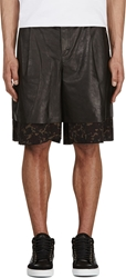 Yang Li Black Leather And Tapestry Layered Shorts