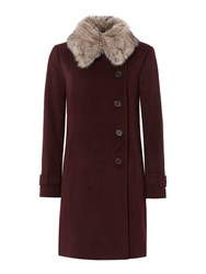 Dickins And Jones Longline Coat With Detachable Faur Fur Collar Aubergine