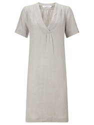 John Lewis V Neck Linen Dress Light Grey