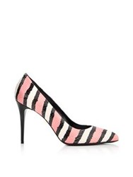 Just Cavalli Striped Snake Print Court Shoes Pink