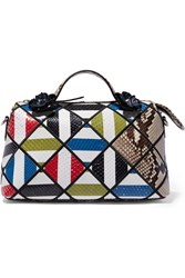 Fendi Boston Small Embellished Printed Python And Elaphe Tote White Snake Print