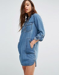 Blank Nyc Denim Shirt Dress With Lace Up Front Freak Out Blue