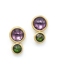 Marco Bicego 18K Yellow Gold Jaipur Two Stone Earrings With Amethyst And Green Tourmaline Purple Green