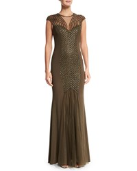 Mignon Cap Sleeve Embellished Gown Bronze