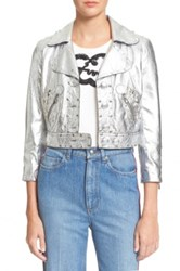 Marc By Marc Jacobs Studded Metallic Lambskin Leather Jacket