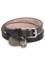 Alexander Mcqueen Black Skull Charm Leather Wrap Bracelet