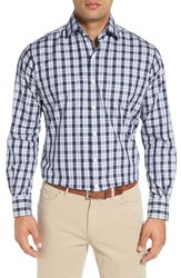 Peter Millar Men's 'Beacon' Regular Fit Plaid Sport Shirt Patriot Navy