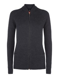 Victorinox Christin Zip Up Cardigan Charcoal