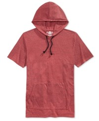 American Rag Men's Double Dyed Short Sleeve Hoodie Only At Macy's Weathered Red