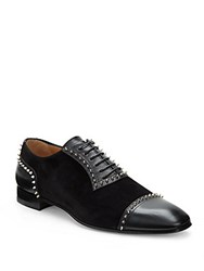Christian Louboutin Italian Leather Studded Loafer Black Silver