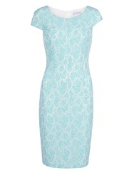 Gina Bacconi Corded Linen Lace Dress With Cap Sleeve Turquoise