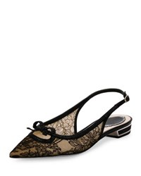 Rene Caovilla Lace Point Toe Slingback Flat Black