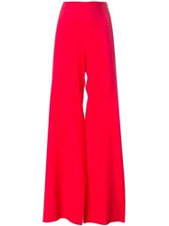 Msgm High Waisted Palazzo Trousers Red
