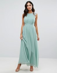 Little Mistress Lace And Pleat Maxi Dress Green