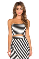 Wayf Strapless Crop Top Black And White