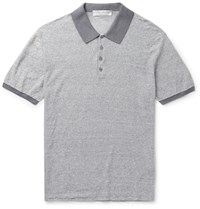 Gieves And Hawkes Slim Fit Striped Linen And Cotton Blend Polo Shirt Gray