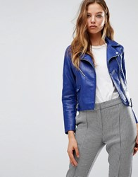Mango Leather Look Biker Jacket Blue