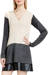 Vince Camuto Women's Colorblock Waffle Stitch V Neck Sweater Mushroom Heather
