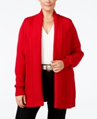 Charter Club Plus Size Textured Open Front Cardigan Only At Macy's New Red Amore