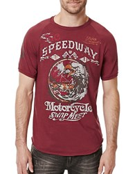 Buffalo David Bitton Talus Crewneck Moto Tee Red