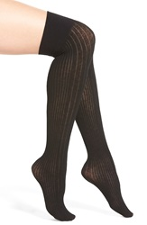 Dkny Variegated Ribbed Over The Knee Socks Black