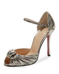 Christian Louboutin Marchavekel Knotted D'orsay Red Sole Pump Platine