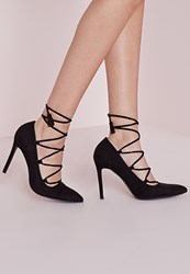 Missguided Lace Up Pointed Court Shoes Black