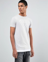 Asos Longline Muscle T Shirt With Triangle Print And Hem Extender Mushroom Beige