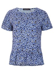 Sugarhill Boutique Leopard Print Peplum T Shirt Blue