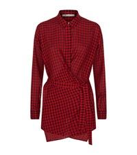 Alexander Wang T By Checked Wrap Blouse Female Red
