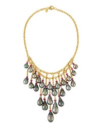 Assael 18K Tahitian Pearl And Ruby Bib Necklace Women's