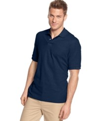 Club Room Short Sleeve Solid Estate Performance Polo Chambray Blue