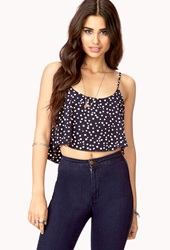 Forever 21 Darling Polka Dot Crop Top Navy Ivory