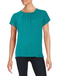 Lord And Taylor Pintucked Tee Sweet Teal