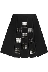 Versus By Versace Embellished Pleated Crepe Mini Skirt Black