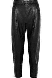 Vince Leather Track Pants Black
