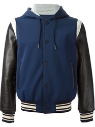 Marc By Marc Jacobs Panelled Sleeve Bomber Jacket Blue