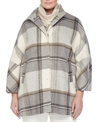 Marina Rinaldi Naturale Plaid Cape Coat Women's