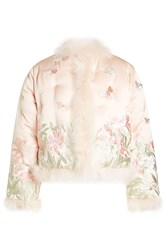 Alexander Mcqueen Embroidered Silk Jacket With Feathers Multicolor