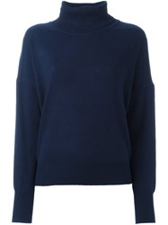 Closed Roll Neck Jumper Blue