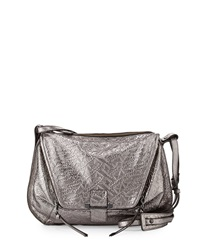 Kooba Leroy Metallic Woven Leather Messenger Bag Gunmetal