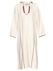 Zeus Dione Tinos Embroidery Trimmed Silk Noil Kaftan