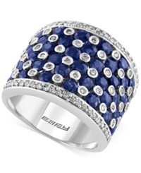 Effy Final Call Sapphire 3 5 8 Ct. T.W. And Diamond 1 2 Ct. T.W. Wide Band In 14K White Gold